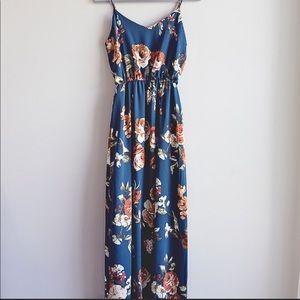 NWOT Anthropologie blue boho floral maxi dress